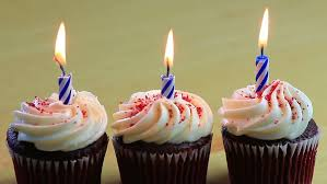 Three chocolate birthday cupcakes burning with one blue candle in each HD stock footage clip