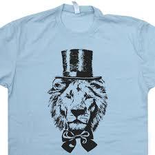 Lion T Shirt Top Hat Funny Animal Vintage
