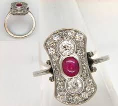 deco ruby and ring platinum deco ruby panel ring item 1159132