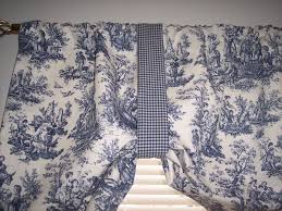 Waverly Curtains And Valances by New Navy Delft Blue On White Waverly Rustic Toile Tie Up Swag