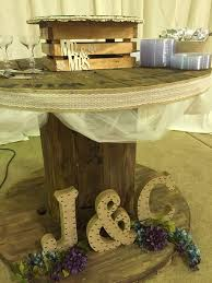 Wire Spool Wedding Cake Table