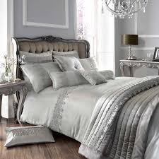 Vince Camuto Bedding by Kylie Minogue At Home Luxury Designer Grey Antique Lace Faux Silk
