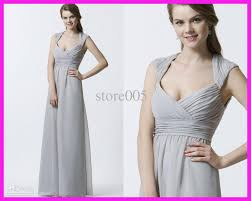 2013 silver cap sleeve long chiffon bridesmaid dresses full length