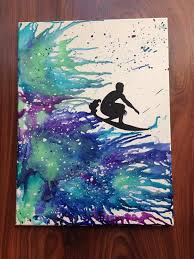 Surf Silhouette Melted Crayon Art
