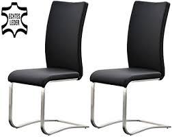 möbelando schwingstuhl stuhl schwinger esszimmerstuhl freischwinger echtleder muvo ii 2er set schwarz