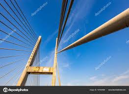 100 Pau Brazil Cablestayed Bridge Over Parana River Border Of Sao