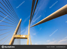 100 Pau Brazil Cablestayed Bridge Over Parana River Border Of Sao
