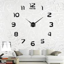 Wall Decor Modern 3D Acrylic Mirror Metal Frameless Large Stickers Clocks Style Watches Hours