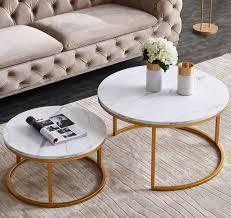2er set couchtisch beistelltisch rund ø80cm ø60cm wohnzimmertisch sofatisch marmor muster holztisch metallrahmen farbe golden