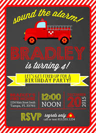 Fire Truck Birt Vintage Fire Truck Birthday Invitations - Birthday ...