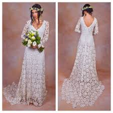 Rustic BOHO WEDDING DRESS Simple Crochet Lace Bohemian