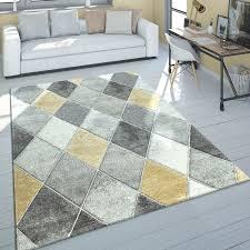 kurzflor teppich rauten design gelb