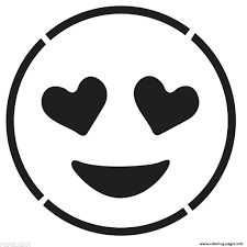 Print Laughing Face Emoji Black And White Smiling With Hear Coloring Pages