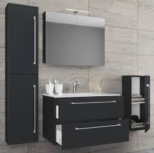 vcm 5 tlg waschplatz badmöbel badezimmer set waschtisch waschbecken schubladen keramik badinos spiegelschrank breite 80 cm schwarz