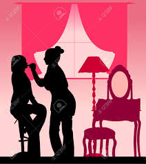 Makeup artist applied lipstick girl in room silhouette layered Stock Vector