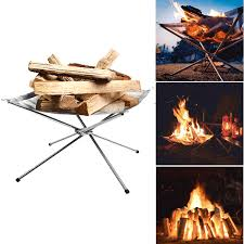 IPReeR Folding Camp Stove Fire Frame Stand Wood Burning Grill Stainless Steel Rack Heater