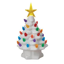 Colored Bulbs For Ceramic Christmas Tree by Mr Christmas 7 In Christmas Porcelain Nostalgic Tree In White