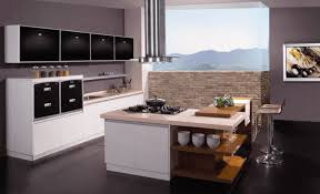 Modern Kitchen Island With Seating Open Shelving And A Butcher Block Table