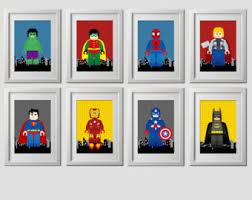 Vintage Superhero Wall Decor by Wall Art Print Etsy