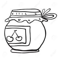 simple black and white cherry jam jar cartoon Stock Vector