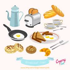 American Breakfast Brunch Food Digital Vector Clip Art European