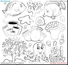 Baby Sea Animals Coloring Pages Clipart Deep Cartoon Underwater Medium Size