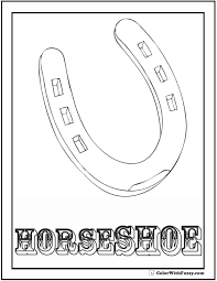 Horseshoe Coloring Sheet Color For Good Luck