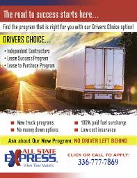 Lease Purchase Truck Driving Job | All State Express
