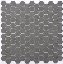 lyric unglazed porcelain hexagon mosaic tile in charcoal gray