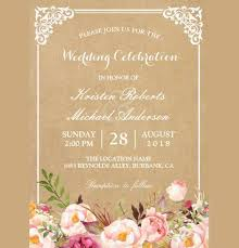 Vintage Rustic Floral Wedding Invitation