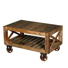 Industrial Rustic Reclaimed Wood Iron Rolling Double X Coffee