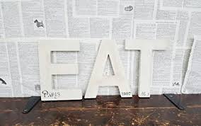 White EAT Letters Sign Kitchen Signs Decor French Country