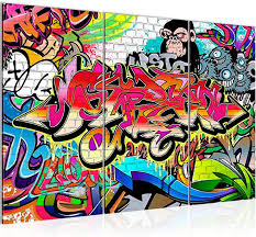 home décor leinwand bilder weltkarte graffiti bunt