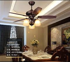 Fan Chandelier Rustic Retro Lights Living Room Dining Bedroom Wooden Leaf