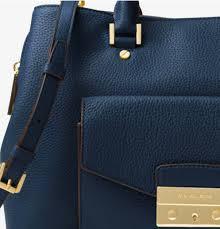 kors handbag haley large leather satchel color navy mk5003