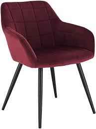 woltu esszimmerstuhl bh93bd 1 1 stück küchenstuhl polsterstuhl wohnzimmerstuhl sessel mit armlehne sitzfläche aus samt metallbeine bordeaux