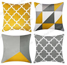 100 Ochre Home Details About Mustard Yellow Grey Geometric Cushion Cover 18 Inch Red Rainbow