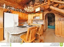 Log Cabin Kitchen Island Ideas by Kitchen Room 2017 Log Cabin Large Kitchen Interior Stock Photo