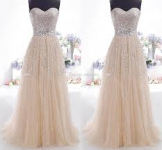 2015 cheap prom dresses champagne sweetheart lace up bling sequins