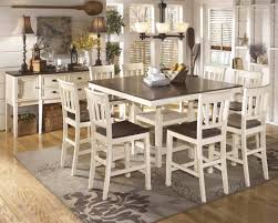 Ashley Furniture Whitesburg Square Drum Counter Extension Table Set In Brown Cottage White