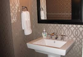 Bathroom Ideas Guest Wall Decor With Grey Patterned Wallpaper And Small Towel Bar Above