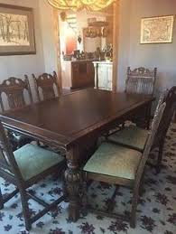 Antique 1930s Jacobean Style Hand Carved Oak 9 Piece Dining Room Set