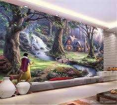 großhandel benutzerdefinierte schöne land landschaftsölgemälde in 3d tapete märchen wohnzimmer schlafzimmer hintergrund wand dekoration mural tapete