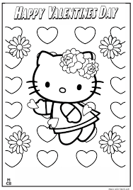 Valentines Day Hello Kitty Coloring Pages