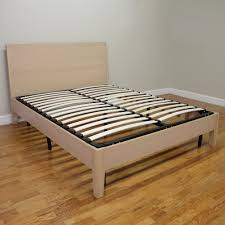 Europa Twin XL Size Wood Slat and Metal Platform Bed Frame