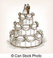 Wedding cake hand drawn sketch style vector