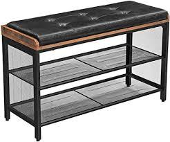 vasagle schuhbank gepolsterte sitzbank mit gitterablage schuhregal 80 x 30 x 48 cm flur schlafzimmer metall platzsparend industrie design