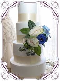 Rustic Wedding Cake Decoration In Silk Artificial Flowers With Blue Cornflower Hydrangea And Ivory