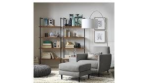 helix acacia wall mounted bookcase cb2
