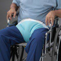 the posey 4125c pelvic soft belt attaches behind wheelchair or